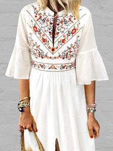 White Floral Pattern Boho Dress