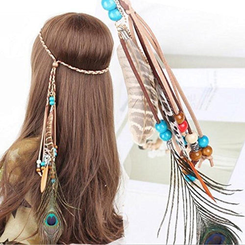 Peacock Feather Rope Hair Accessories