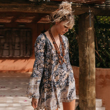 Load image into Gallery viewer, Boho Oasis Long Sleeve Mini Dress - Yogalogical