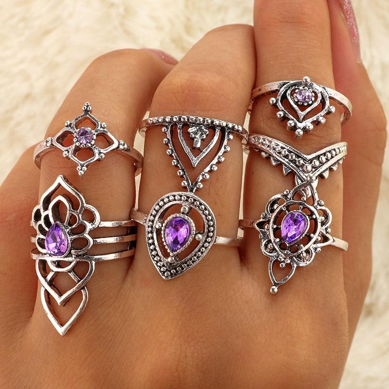 Silver Color Light Purple Ring Set