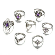 Load image into Gallery viewer, Silver Color Light Purple Ring Set