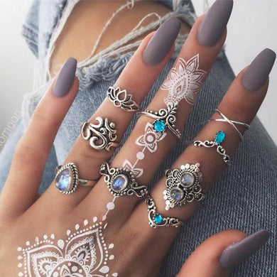 Bohemian Silver Color Rings Set - Yogalogical