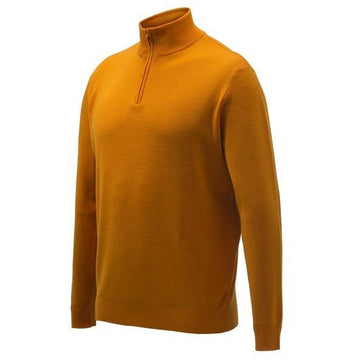Light Merino Half Zip Sweater Orange