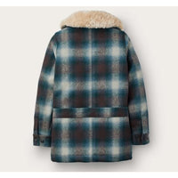 Women's Wool Trapper Coat Forest Ombre Plaid - LIMITED EDITION