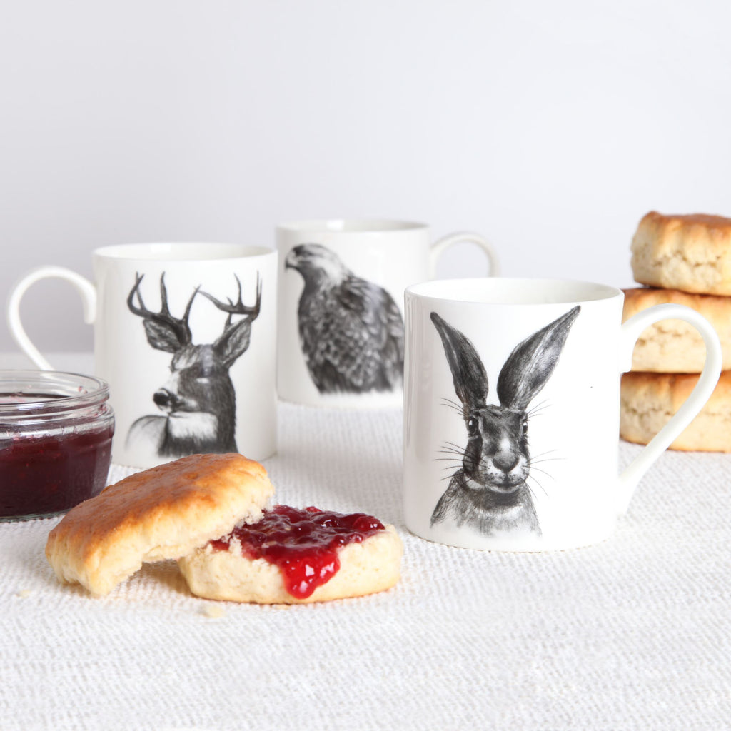 Stag, Hare, & Eagle Set of 6 Mugs