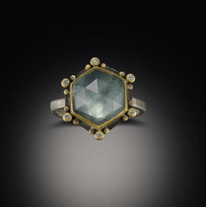 Moss Aquamarine Star Ring