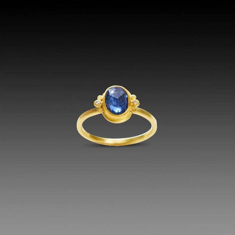 Blue Sapphire Oval Ring with Diamonds