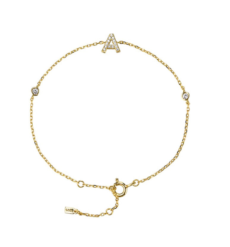 GOLD INITIAL + DIAMOND BRACELET