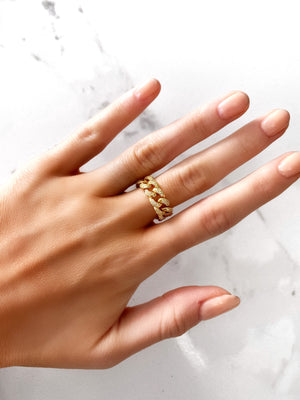 CHAIN RING - GOLD AND SILVER