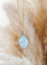 MOTHER-OF-PEARL VIRGIN MARY NECKLACE