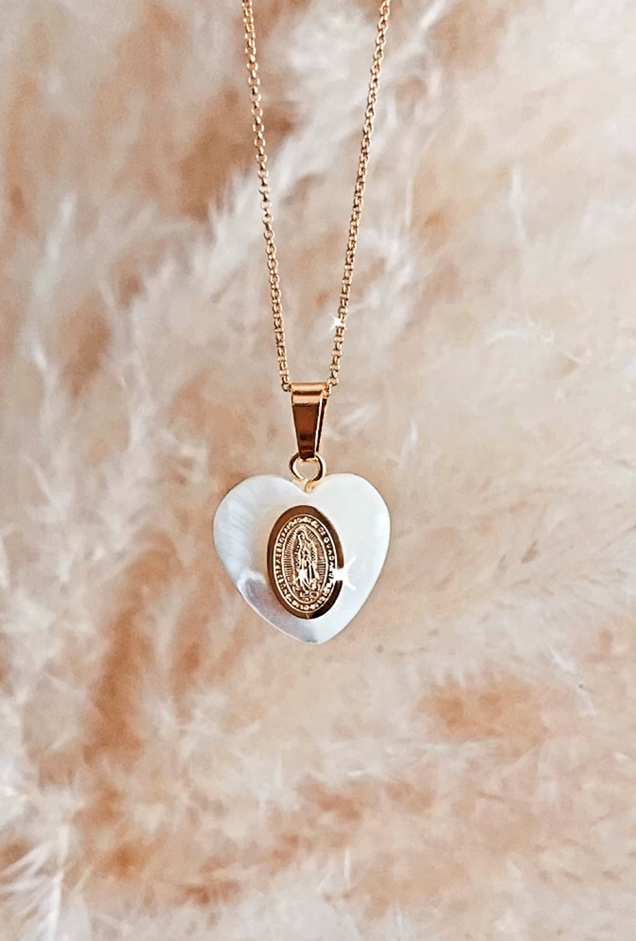 MOTHER OF PEARL ICON NECKLACE