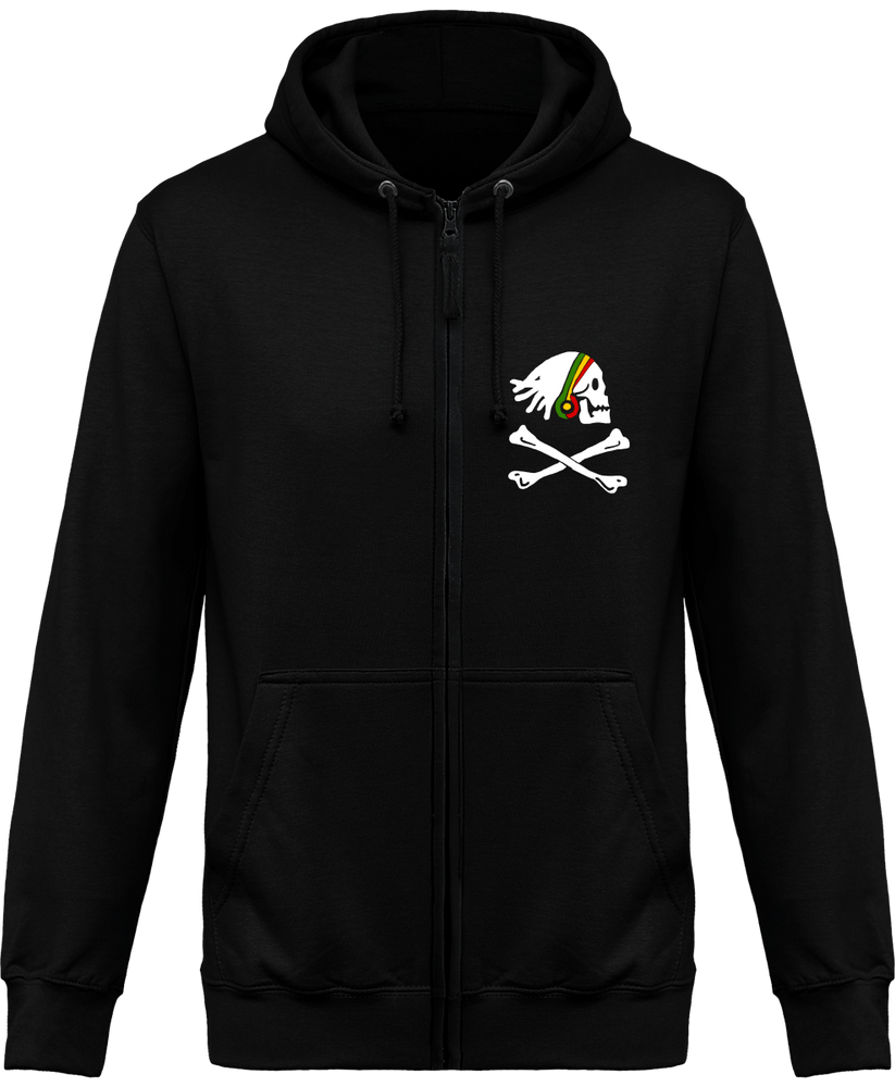 Sweat Shirt Zippé Capuche Rasta Skull