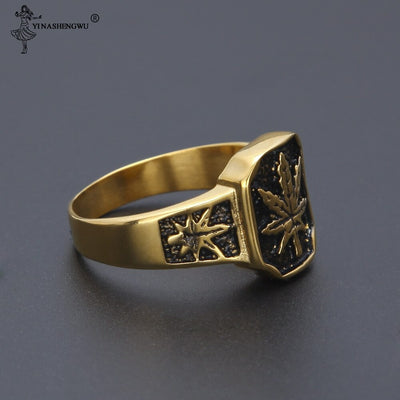BAGUE CANNABIS PLAQUEE OR