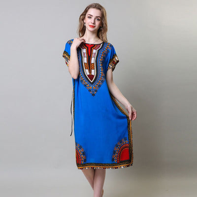 Loose African Dress for Women Dashiki Tribe Totem 3D Print Long Robe Plus Size Female Riche Bazin Street Wear Vestido Dress