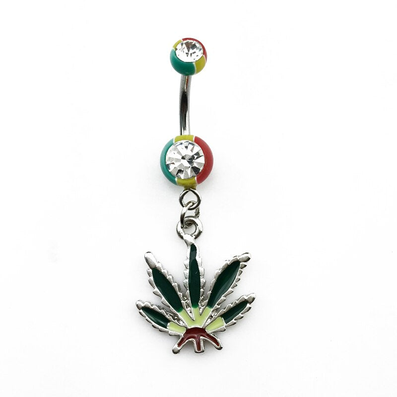 piercing nombril cannabis rasta avec diamant