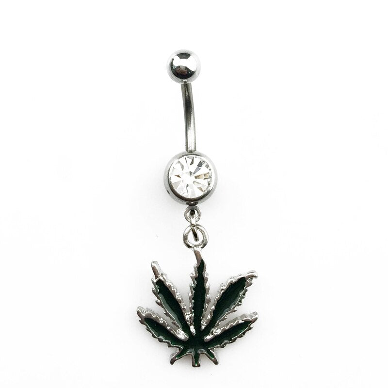piercing nombril cannabis avec diamant