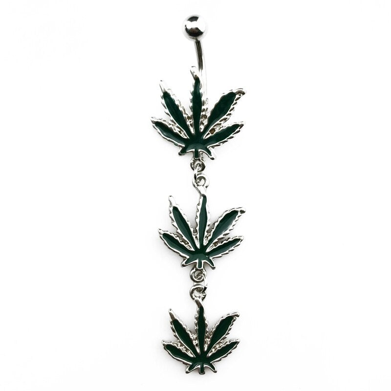 piercing nombril cannabis - triple feuille