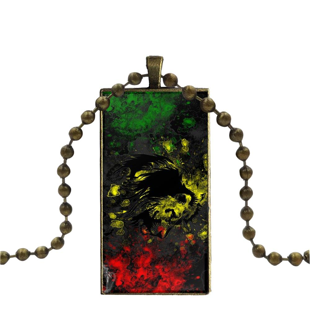 collier rasta - lion abstrait