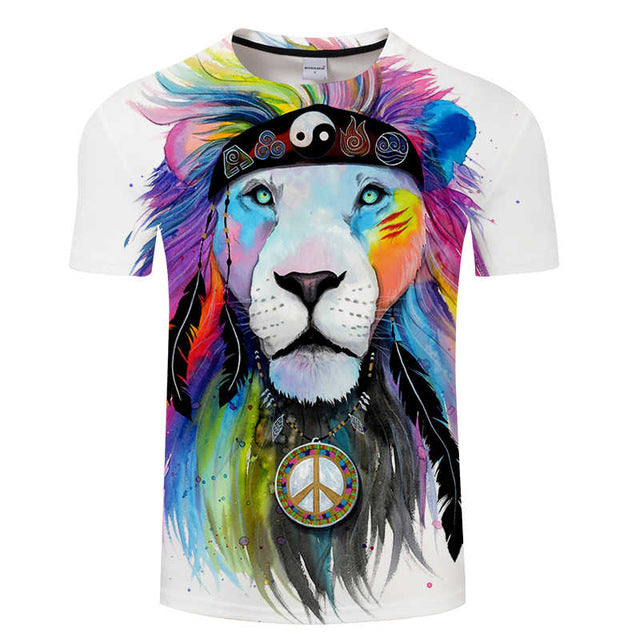 T-Shirt Col Rond Hippy Lion