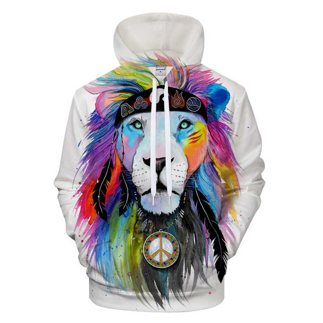 Sweat Shirt à Capuche Unisex Hippy Lion