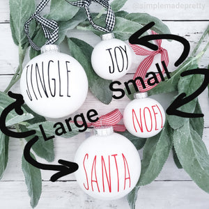 Christmas Ornament Decals SMALL - Rae Dunn (DECALS only shipped)