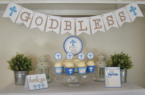 Baptism Party Celebration Printable Package in Blue - PDF
