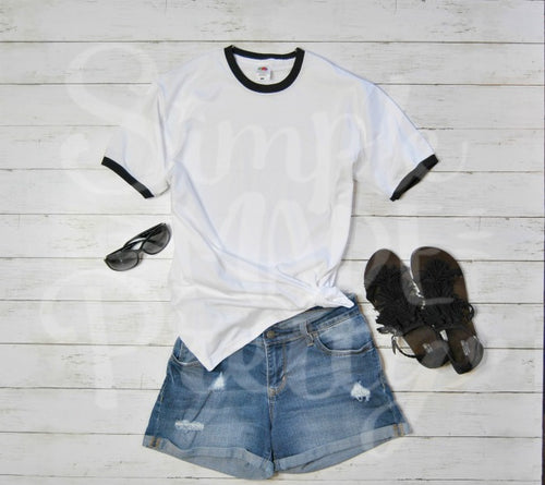 Black and white women's ringer tee denim shorts fringe sandals mock photo stock photo ideas. Your design here flat lay mockup product t-shirt photo for sale. SVG files, upload your image here