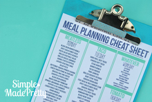 Load image into Gallery viewer, Meal Planning Cheat Sheets - PDF