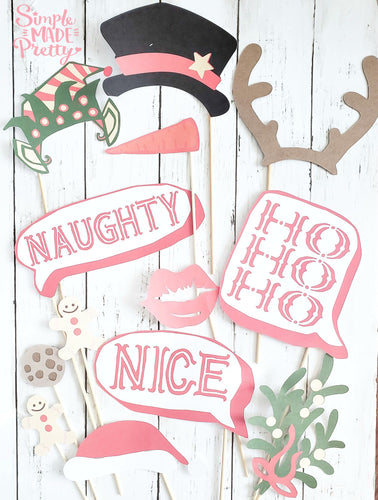 Christmas Holiday Photo Booth Props - PDF
