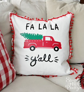 Red Truck with Tree Fa La La Y'all SVG File (SVG, DXF, EPS, & Png) - Cut File -Cricut, Silhouette