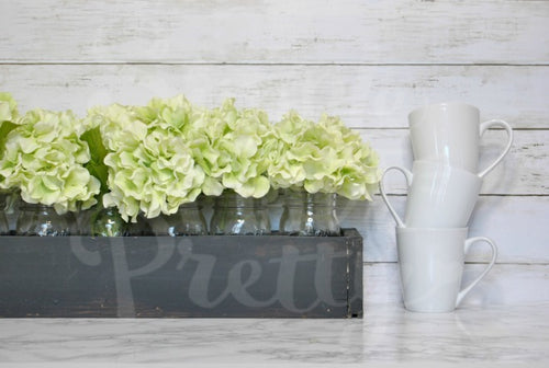 Farmhouse 3 small white mugs green flowers | Mock up phot | your design here | svg mock photo