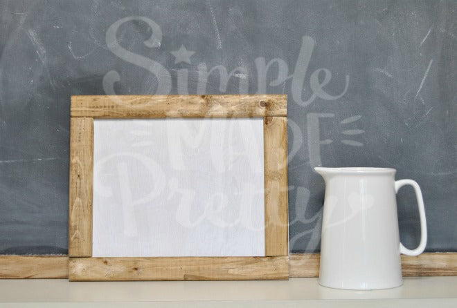 Farmhouse chalkboard white pitcher stock photo Rae Dunn inspired mock stock photograph