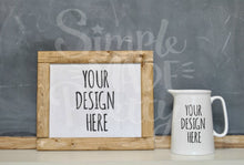 Load image into Gallery viewer, Farmhouse chalkboard white pitcher stock photo Rae Dunn inspired mock stock photograph