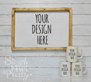 Farmhouse large frame 3 large white mugs ship-lap mock-up photo