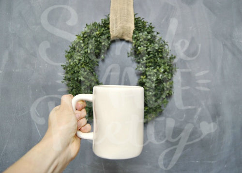 Farmhouse large white mug wreath chalkboard stock photo
