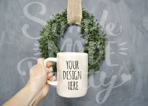 Farmhouse large white mug wreath chalkboard stock photo Rae Dunn inspired mock stock photograph