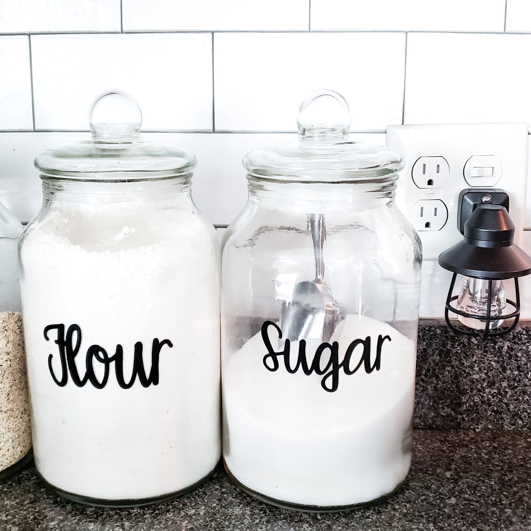 Flour, Sugar Canister Decal Bundle - (2 Decals shipped) - Flour Label, Sugar Label