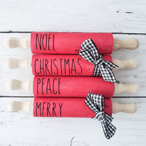 Decals for Mini Rolling Pins Christmas (DECAL only shipped) - Christmas Rolling Pin Decals