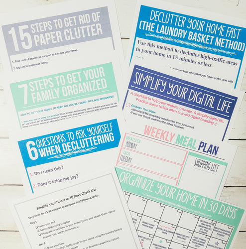 Simplify Your Home in 30 Days CHEAT SHEET Bundle