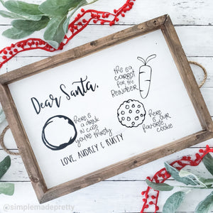 Dear Santa Christmas Tray - Cookies for Santa Tray, Christmas Decal - (Decal only shipped)