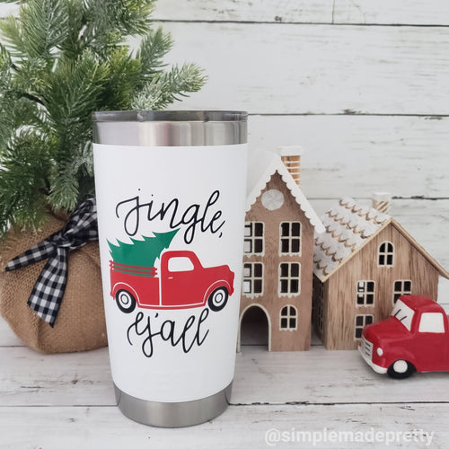 Red Truck with Tree Mug Decal for Christmas (DECAL only Shipped)