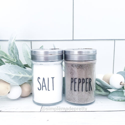 Salt and Pepper Decal Bundle - (2 Decals shipped) - Salt Label, Pepper Label, Rae Dunn Salt and Pepper