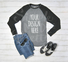 Load image into Gallery viewer, Styled Baseball Tee & Jeans Product Mockup Photo
