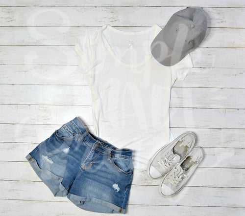 Styled white tee denim shorts gray baseball hat sneakers | Mock up photo | svg photo | your design here | flat lay photo