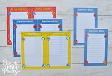 Load image into Gallery viewer, Superhero Inspired Stationery Set - Printable PDF