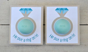 Bridal Shower EOS Lip Balm Cards in Teal - PDF