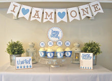 Load image into Gallery viewer, Baby's First Birthday Party Package in Blue - PDF