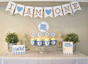 Baby's First Birthday Party Package in Blue - PDF