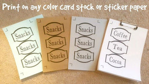 Storage Labels, Seasonal Storage Labels, Printable Organization Labels - PDF