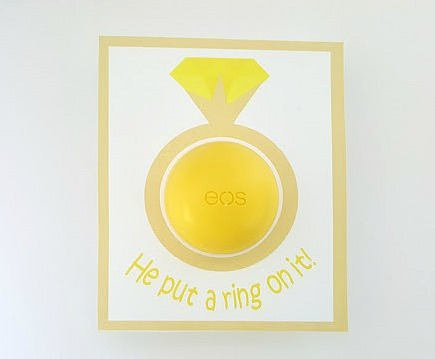 Bridal Shower EOS Lip Balm Cards in Yellow - PDF